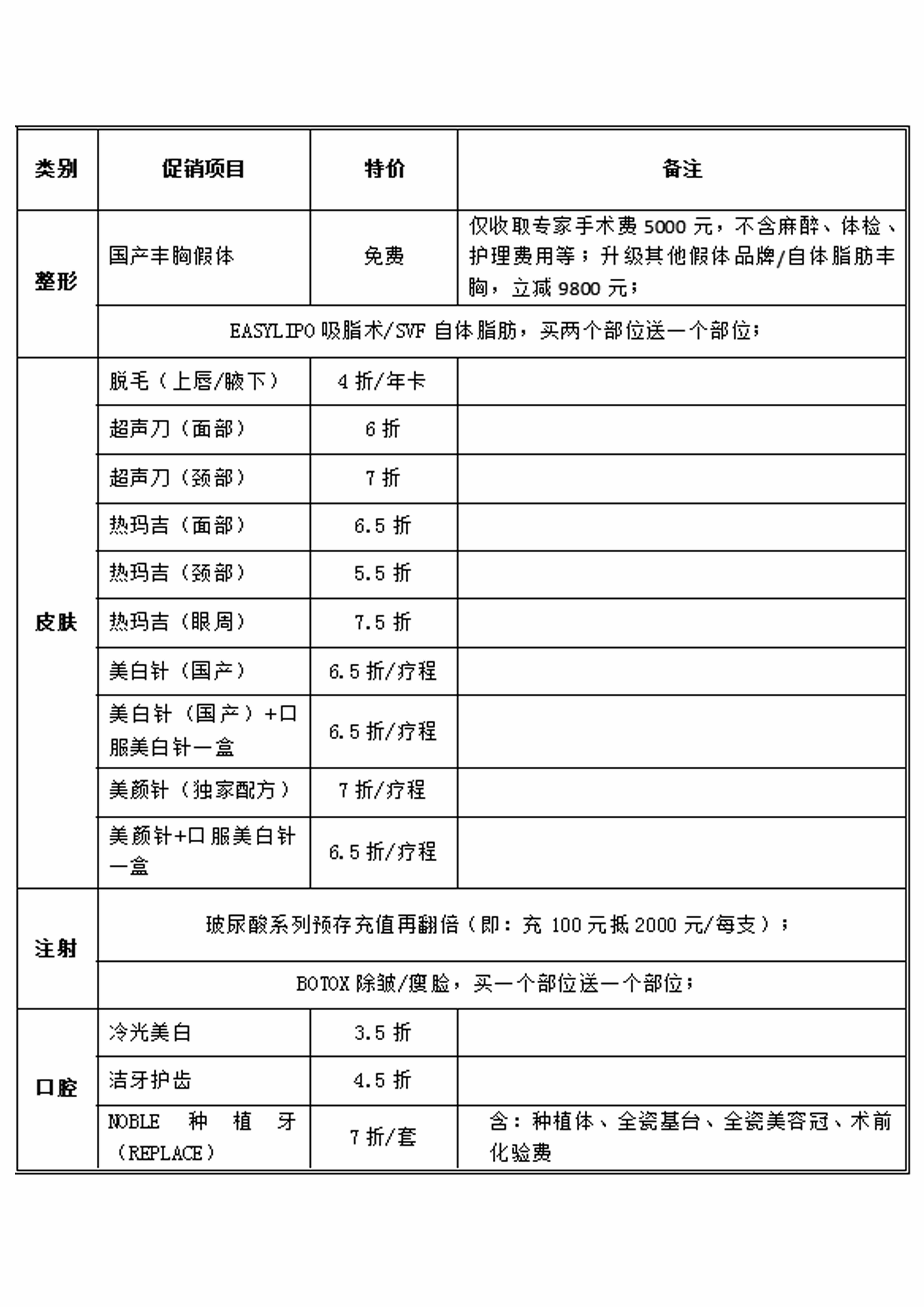 2016年7月北京丽都整形医院优惠活动详情表