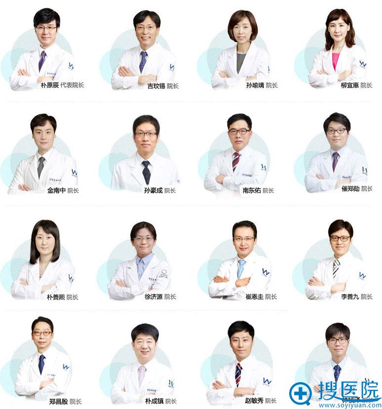 韩国原辰整形外科医院部分院长