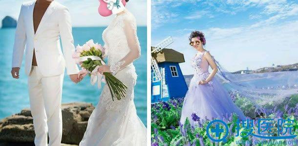 假体隆胸后拍摄婚纱照照片