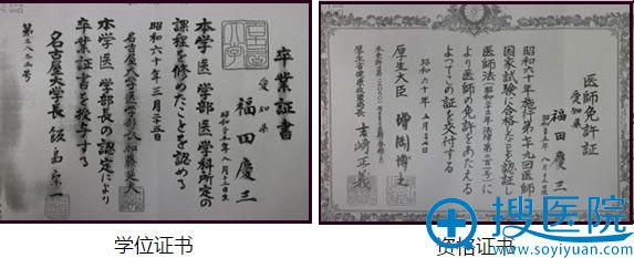 日本福田庆三资质证书