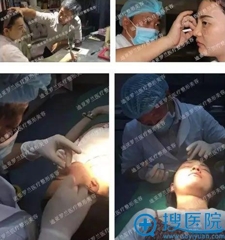 吉志俊教授为爱美者实施线雕手术过程