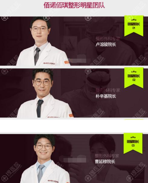 韩国佰诺佰琪整形外科医生团队