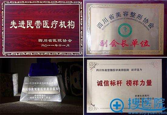 四川华美紫馨医学美容医院获奖证书